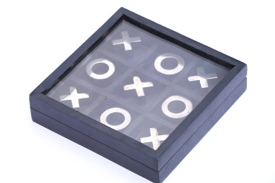 DEVARSH INT Tic Tac Toe BLACK colour - Wooden Tic Tac Toe Family Board Game - Metal Noughts and Crosses Storage Travel Box Set with Glass Lid - Handmade Unique Centrepiece - Gift for Kids ( 13cm X 13cm )