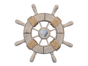 Rustic Decorative Ship Wheel With Seashell 23cm - Wooden Ships Wheel - Boat Steer