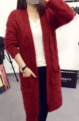 Long red wine in Europe and America retro twist mohair cardigan sweater female cardigan 2016 autumn and winter thick loose
