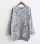 Sweater and long sections loose round neck sweater hedging female sweater pocket winter coat tide