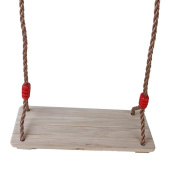 Tinksky Wooden Hanging Swing Preservative-Treated Timber Polished for Children and Adults Red Fastener with Adjustable Rope