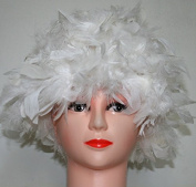 White Chandelle Feather Costume Wig Halloween Costume Coque Feather Wigs