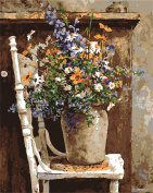 CaptainCrafts New Paint by Numbers 41cm x 50cm for Adults, Kids LINEN Canvas - Wild Flowers Pots Chair