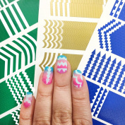601 Individual Nail Art Stencils Guides Stickers Vinyl with 16 Different Designs