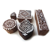 Hand Carved Square and Border Pattern Wood Block Print Stamps