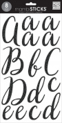 me & my BIG ideas Large Alpha Sticker Victoria Black Lace Up, Cursive Black, Add Glitter
