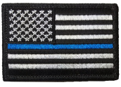 Tactical USA Flag Police Law Enforcement Thin Blue Line Iron Sewing on Patch - Black & White 5.1cm x 7.6cm - By Ranger Return