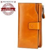 Itslife Women's Large Capacity Luxury Wax Genuine Leather Clutch Wallet Card Holder Ladies Purse