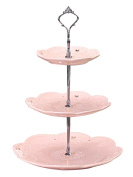 Jusalpha 3-tier PorcelainCake Stand/ Cupcake Stand Tower/ Dessert Stand/ Pastry Serving Platter/ Food Display Stand , Pink