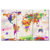 Canvas Print Wall Art Paintings For Home Decor World Colour Map In Watercolour In Hand Painted Style 3 Pieces Panel Modern Framed Artwork Pictures For Living Room Decoration Map Photo Prints On Canvas