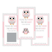Set of 12 Scratch Off Game Cards for Baby Shower Games with Owl in Pink SC102