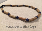 ADHD Hazelwood Necklace 48cm Baltic Amber Lapis Lazuli for adult for Gut issues; Eczema, Acid Reflux, heartburn, and ulcers. 48cm - 49cm Lapis Lazuli for Stress Anxiety Adult ADHD