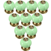 Lsgoodcare 38MM Green 10PCS Europe Vintage Pumpkin Style Ceramic Door Knobs Drawer Pull Handle Cabinet Cupboard Wardrobe Baby Kid's Children's Furniture