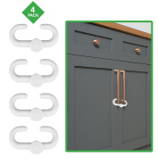 Child Safety Sliding Locks By Lebogner - Pack Includes 4 Locks To Baby Proof Your Kitchen, Bathroom, and Storage Doors, Multi-Purpose Cabinet Lock For Child Safety, Easy To Instal, No Tools Needed