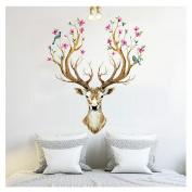 Hatop 3D Plum flower deer Wall Stickers DIY Decoration PVC Removable Waterproof