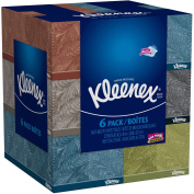 Kleenex Everyday Use, Soft Facial Tissues, Thick and Absorbent, 160, 2-PLY White Tissues, - 6 Bundle Pack - 960 Total Tissues. Variety of Assorted Colours and Designs.