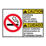 ComplianceSigns Plastic ANSI CAUTION Oxidising Gas Stored No Smoking Bilingual Sign, 25cm X 18cm . with English + Spanish Text and Symbol, White