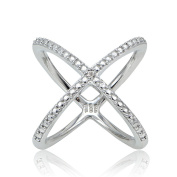 Sterling Silver Diamond Accented Criss-Cross X Crossover Ring