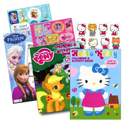 Colouring Books with Stickers Assortment ~ Hello Kitty Colouring Book, My Little Pony Colouring Book, Disney Frozen Colouring Book