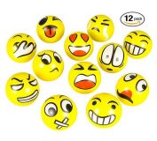 7.6cm Party Pack Emoji Stress Balls - Stress Reliver Party Favours, Toy Balls, Party Toys