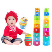 Vaole(TM) 1 Set New Baby Children Kids Educational Toy Figures Letters Folding Cup Pagoda Gift Math Toy