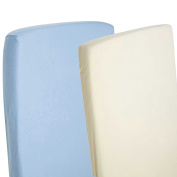 2x Fitted Sheets Compatible With Chicco Next 2 Me 100% Cotton- Blue / Cream-By For-Your-Little-One