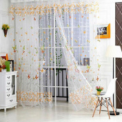 Butterfly Printed Tulle Voile Door Window Balcony Sheer Panel Screen Curtains-Yellow
