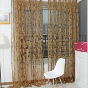 Vintage Flocked Floral Voile Door Window Balcony Sheer Panel Screen Curtains-Coffee