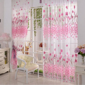 Pink Tulip Printed Tulle Curtain Fabrics Sheer Panel American Country Style