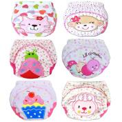 JT-Amigo Baby Girls Underwear Potty Training Pants Reusable 6 Pack, Size 12 Months