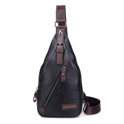 Outreo Leather Chest Bag for Men Cross body Shoulder Bag Vintage Satchel PU Crossbody Messenger Bag Small Side Day Pack Outdoor Sport Bags