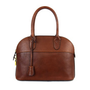 Made In Italy Leather Handbag For Woman With Padlock Colour Brown Tuscan Leather - Prestige Line