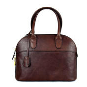 Made In Italy Leather Handbag For Woman With Padlock Colour Dark Brown Tuscan Leather - Prestige Line