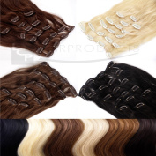 Clip In Extensions Remy Human Hair 20 inch 50 cm hair length - 8 braids set - different colours available - XXL Set, Colour:#10 gold brown - 2503