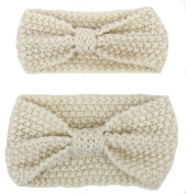 Fletion Mother & Baby Knitting Wool Hair Band Hairband Toddler Knotted Headband Parent Child Head Wrap