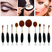 S-noilite® 2016 Professional Hot Rose Golden Beauty Kabuki Elite Oval Tooth Design Makeup Brush/Toothbrush Set For Applying Cosmetic Products Amazing Large Kit/Set