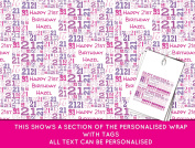 Pink Happy 21st birthday Personalised Wrapping Paper - 590mm x 840mm