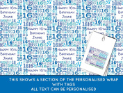 Blue Happy 16th birthday Personalised Wrapping Paper - 590mm x 840mm