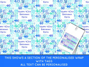 Blue Happy 40th birthday Personalised Wrapping Paper - 590mm x 840mm