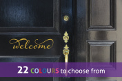 Word WELCOME sign with swirls for for your front door, wall art sticker decal, GOLD (METALLIC), 30cm x 7 cm