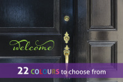 Word WELCOME sign with swirls for for your front door, wall art sticker decal, APPLE GREEN, 30cm x 7 cm
