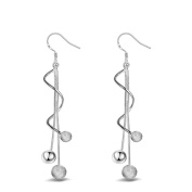 Women Elegant Beautiful Copper Three Balls Long Drop Earrings Silver