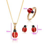 XUPING-- Cute Lovely Little Ladybug Ladybird Stud Earrings Pendant Necklace with Chain and Ladybug Rings for Chirdren-Jewellery sets