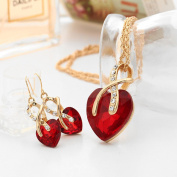 Women Beautiful Elegant Alloy Zircon Crystal Heart-Shaped Drop Earrings Necklace Jewellery Set