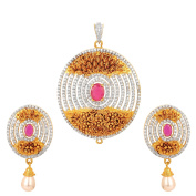 24k Gold Plated CZ ,Ruby And Royal Pearl Studded Ethnic Pendent Set
