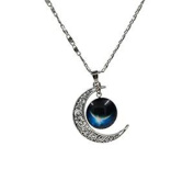 Minifamily® Moon Pendant Moon Necklace Moon Jewellery Galaxy Universe Stars Space Gift for Womens Come With Free Unique Ring and Rubber Wrist Band