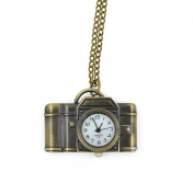 Minifamily® Vintage Bronze Camera Shape Pendant Necklace Watch Come With Free Unique Ring and Rubber Wrist Band