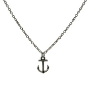 Minifamily® Vintage Anchor Shape Silver Colour Alloy Pendant Necklace(1 Pc) Come With Free Unique Ring and Rubber Wrist Band