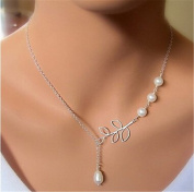 Minifamily® Vintage Four Pearl Leaf Shape Pendant Necklace(1 Pc) Come With Free Unique Ring and Rubber Wrist Band