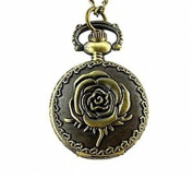 Minifamily® New Vintage Rose Flower Brass Pocket Watch Quartz Necklace Come With Free Unique Ring and Rubber Wrist Band